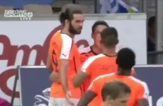 Ireland's Cillian Sheridan scored his first Champions League goal tonight