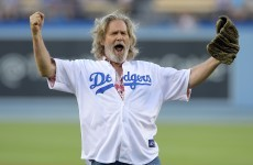 Jeff Bridges 'bowls' out first pitch at baseball game, Lebowski-style