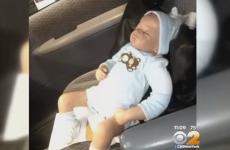 US ambulance crew break car window to rescue baby doll