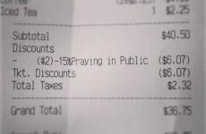 US restaurant ends 'discriminatory' 15% public prayer discount after receipt goes viral