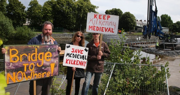 Kilkenny bridge protest enters fifth week as Arts Festival begins