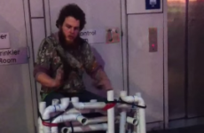 Busker plays amazing medley using flip flops, some PVC pipe