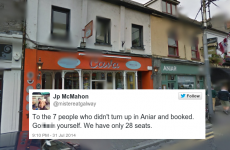 Here's how one Galway restaurateur reacted to no-shows at his business (NSFW language)