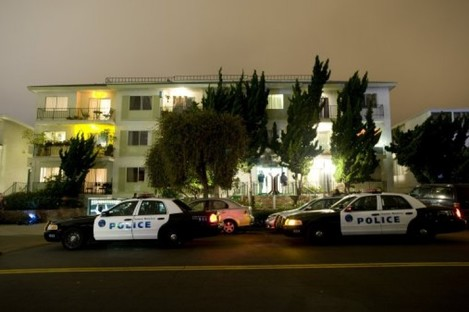 Police cars at the apartment building where James 'Whitey' Bulger was captured yesterday evening in Santa Monica