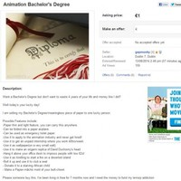 This guy is selling his college degree for €1