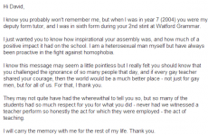 Teacher receives lovely email from student after coming out during school assembly