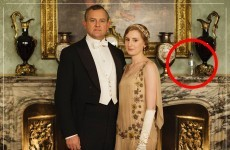 Someone left a plastic water bottle in this publicity photo for Downton Abbey