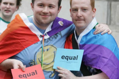 James Boyle and Sean Maher take part in the 'march for marriage' to the Department of Justice in Dublin in 2010. The protest criticised the Civil Partnership Bill, saying it makes people into second class citizens.