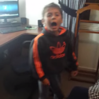 Boy caught on camera dancing like nobody's watching, freaks out