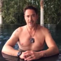 Roberty Downey Jr does the Ice Bucket Challenge, in typical RDJ fashion
