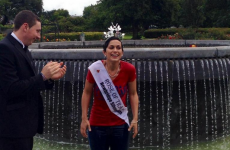 The Rose of Tralee did the Ice Bucket Challenge in her sash and tiara