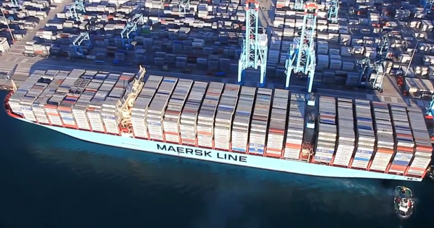 That's a lot of stuff!... This ship has set a world record for most containers ever carried