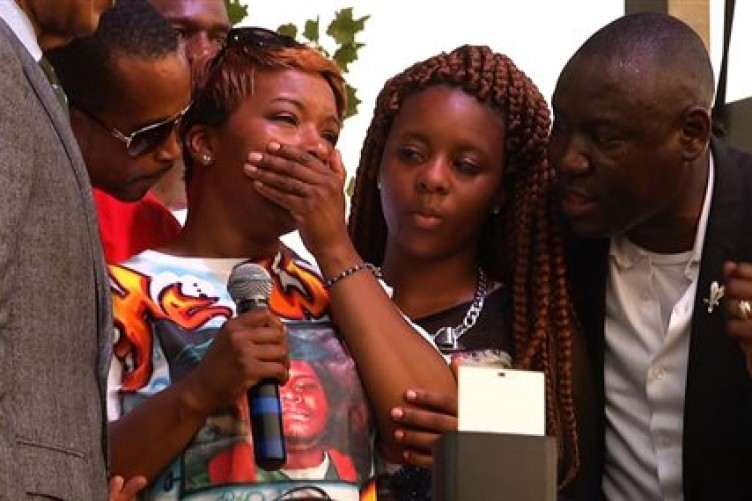 Michael Brown's mother, second from left speaking at Peace Fest yesterday.