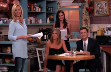 Jennifer Aniston, Courteney Cox and Lisa Kudrow re-enacted Friends on Jimmy Kimmel