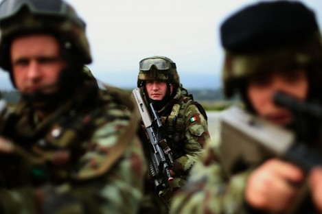 Irish troops in training for their deployment to the UN Disengagement Observation Force in the Golan Heights.