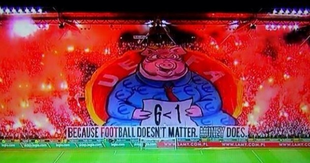 Legia Warsaw fans eviscerated UEFA with this banner tonight