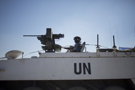 Armored vehicles from the U.N. peacekeepers of the United Nations.