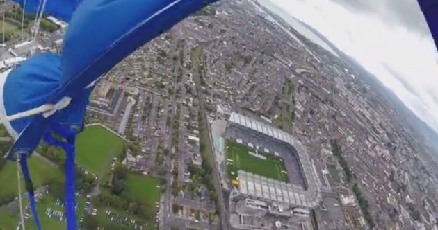 VIDEO: Here's what it's like to parachute into Croke Park