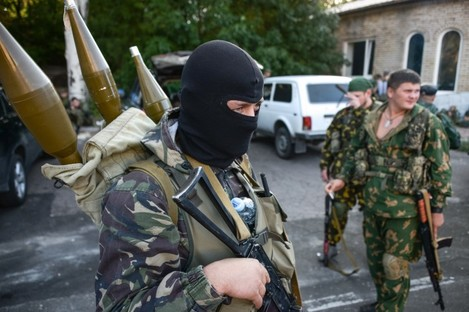 Pro-Russian rebels in Donetsk, eastern Ukraine