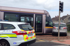 A car and a Luas tram collided this afternoon