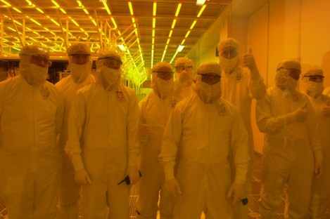 Intel workers in Leixlip, Co Kildare giving the thumbs-up...
