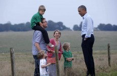 Barack Obama meets young family... in a field... in England