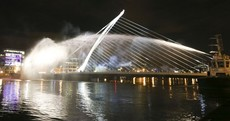 This Dublin bridge was turned into a giant harp last night