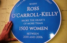 A Ross O'Carroll Kelly plaque is after being put up outside Lillies Bordello