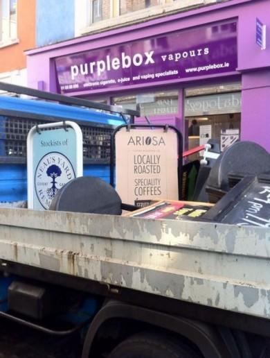 Dublin City Council explains sandwich board sweep in Temple Bar today