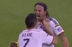 Robbie Keane was bulldozed to the ground by an LA Galaxy team-mate last night