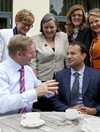 PICTURES: Friends again! Leo and Enda patch things up over a cup of tea
