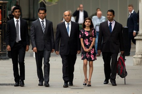 The family of Jacintha Saldanha with Labour MP Keith Vaz (centre) at the inquest into her death this week.