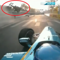 Nick Heidfeld walked away from this horror crash in the first-ever Formula E race