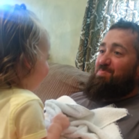 Dad shaves off his beard, baby girl has no idea who he is