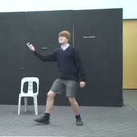 Serious kid reciting Shakespeare meets disaster mid-performance