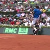 Gael Monfils hits a magical aerial tweener in the Davis Cup