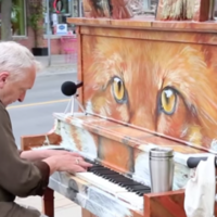 Older man's street cover of Say Something is the only way to start your day