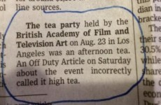 Newspaper posts correction after misidentifying an 'afternoon tea' as 'high tea'