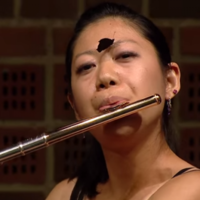 Butterfly lands on flautist's face mid-performance and she barely even blinks