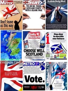 'Day of Destiny': The UK newspapers on Scotland's vote for independence