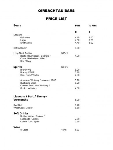 Here's how much a pint costs in the Dáil bar these days