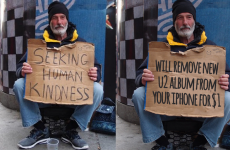 That 'homeless U2 man' image isn't real, but the man is