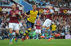 Mesut Ozil was both scorer and provider at Villa Park today