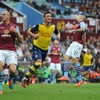 Mesut Ozil was both scorer and provider at Villa Park today