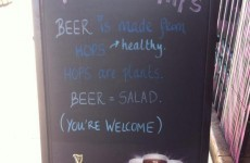 Dublin pub sign offers definitive proof that beer is basically salad