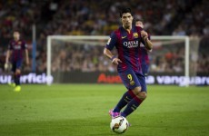 Luis Suarez scored his first two goals for Barcelona today