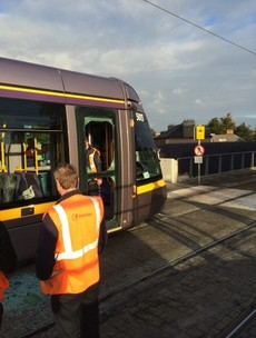 """Rush-hour Luas cleared after """"loose stone"""" causes door to smash"""