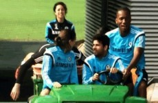 Diego Costa drives Chelsea team-mates around training in a buggy