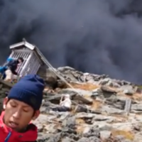Amazing video captured by Japanese hikers running for cover as volcano erupts