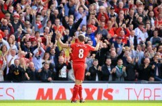Gerrard curls home a terrific free-kick in Merseyside derby